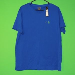 Polo Ralph Lauren Mens L Blue V Neck T Shirt NEW
